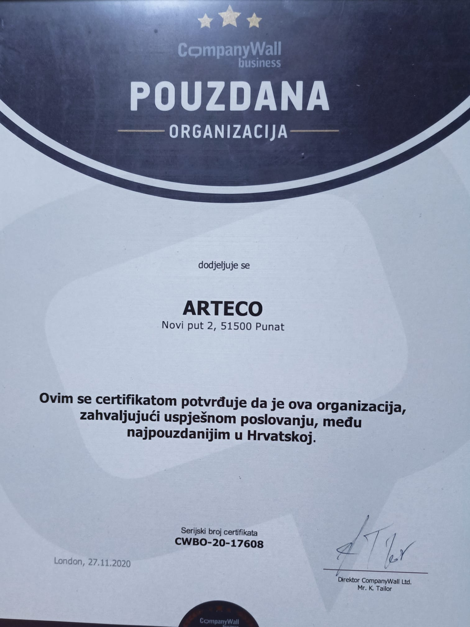Certificate of creditworthiness excellence